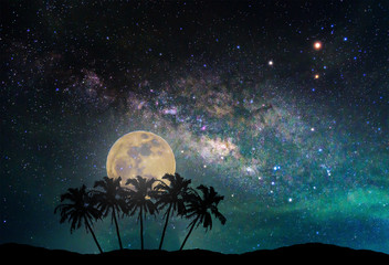 Wall Mural - Landscape with Milky way galaxy. Night sky with the moon and silhouette coconut palm tree on the mountain. Long exposure photograph