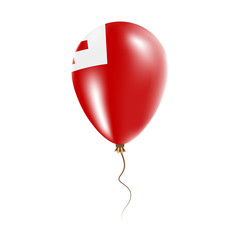 Tonga balloon with flag. Bright Air Ballon in the Country National Colors. Country Flag Rubber Balloon. Vector Illustration.