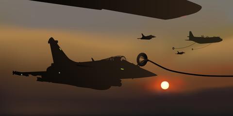 Avion de chasse - Ravitaillement - guerre - Nuit