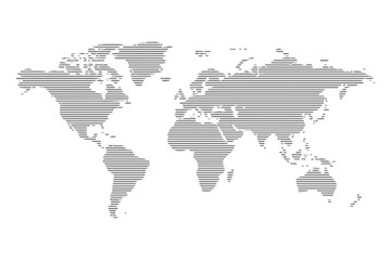 Abstract computer graphic World map of lines. Vector illustration