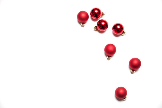Shiny red Christmas baubles