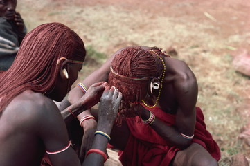 Masai moran hair braiding, Kenya, East Africa, Africa