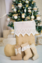 Festive house handmade decoration elements in lace and linen