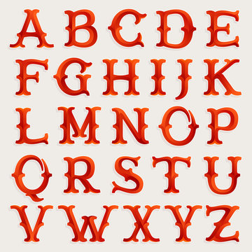 Elegant circus style faceted red slab serif font.