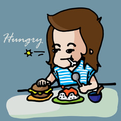 Hungry girl cute vector character