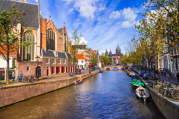 Beautiful romantic canals of Amsterdam, Holland