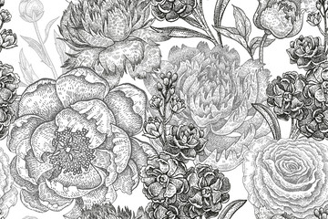 Floral pattern with peonies and roses.