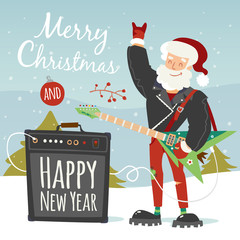 vector rock santa illustration