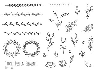 Collection of hand drawn doodle design elements isolated on white background. Set of handdrawn borders, laurel wreaths, floral dividers, ribbons. Abstract hand sketched shapes. Vector illustration.