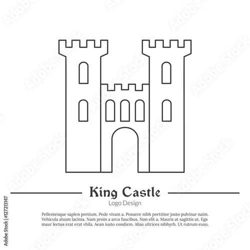 cut out castle template - medieval king castle tower fortress single logo in