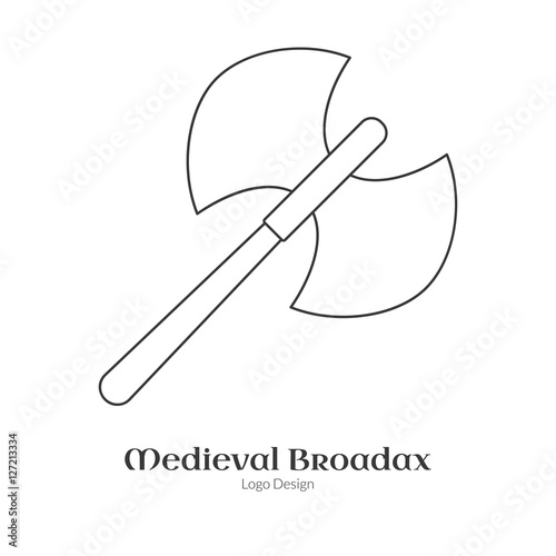 Medieval Guard Double Axe Broadax Single Logo In Modern Thin Line