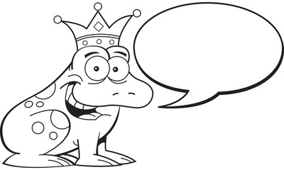 Black and white illustration of a frog wearing a crown with a caption balloon.