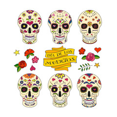 Collection of six colorful Calavera skulls and decorative elements