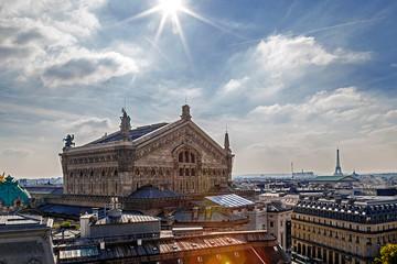 Aerial view with rooftop in Paris. Opera Garnier building