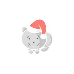 Gray kitten in Santa hat
