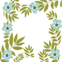 Flowers and leaves frame icon. Decoration rustic garden floral nature plant and spring theme. Isolated design. Vector illustration