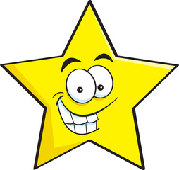 Cartoon illustration of a smiling star.