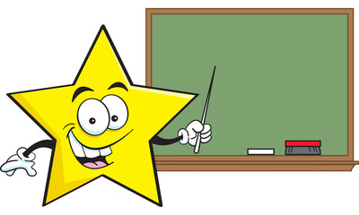 Cartoon illustration of a star with a blackboard.