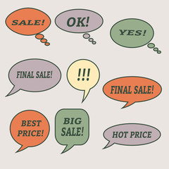 Sale speech bubbles. Set of vector illustration icons.