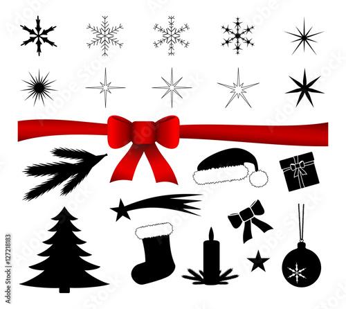 weihnachten symbole isoliert silhouette sammlung stock. Black Bedroom Furniture Sets. Home Design Ideas