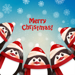 Funny penguins. Winter background