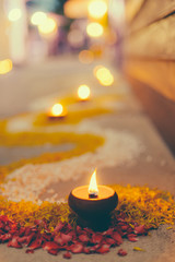 Asian Thai style traditional culture oil fire candle lantern with blur bokeh background for art design postcard brochure.