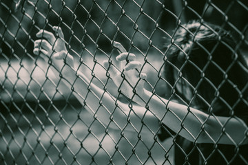 prison women in the cage hand at fence prison in jail, no freedom struggle concept.