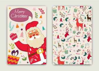 Happy New Year and Merry Christmas vector card with happy funny holiday Santa Claus pattern deer.