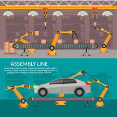 Automation abstract robotic assembly line car set flat isolated vector illustration background
