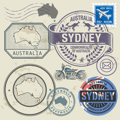 Grunge rubber stamp set with text and map of Australia