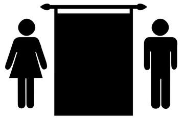 Frau und Mann mit Leinwand