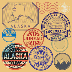 Grunge rubber stamp and signs set with name and map of Alaska