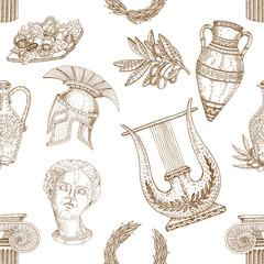 Greece Icons Seamless Pattern