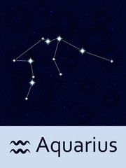 Zodiac Sign Aquarius Horoscope Constellation Star Abstract Space Night Sky Background With Stars And