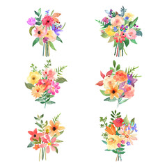 Vector floral set. Colorful collection with leafs and flowers.