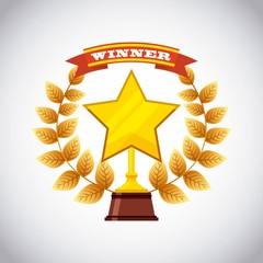 gold winner trophy in star shape icon over white background. vector illustration