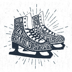 "Hand drawn label with textured ice skates vector illustration and ""Snow. Ice skating. Enjoy. Winter sport."" lettering."
