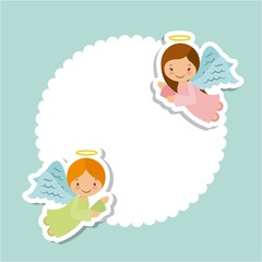 cute cartoon angels card over white and green background. colorful design. vector illustration