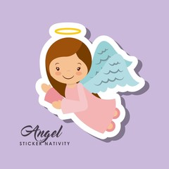 cartoon cute angel character over purple background. sticker nativity design. vector illustration