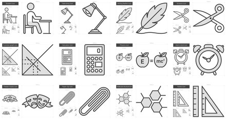 Education line icon set.