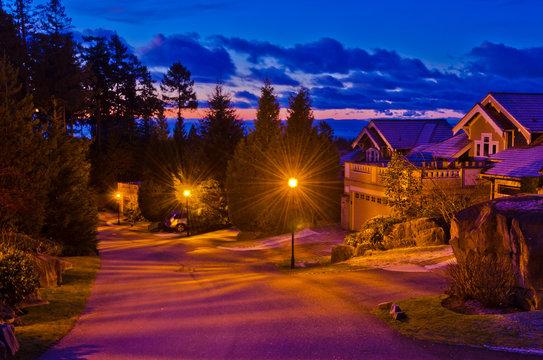 Fantastic glow luxury neighborhood at night