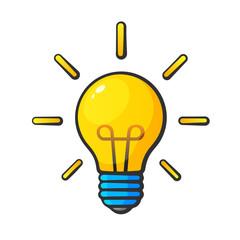 Cartoon light bulb in comic style