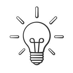 Sketch light bulb in doodle art style