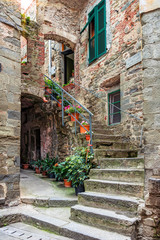 Wall Mural - Alley in Italian old town Liguria Italy