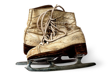 One pair of women skates are towards each other