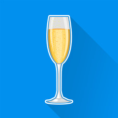 Champagne glass. Happy New Year and Merry Christmas celebration. Concept vector illustration. Modern flat design. EPS10