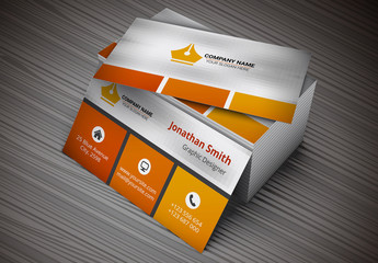 Business Card with Orange Squares Layout