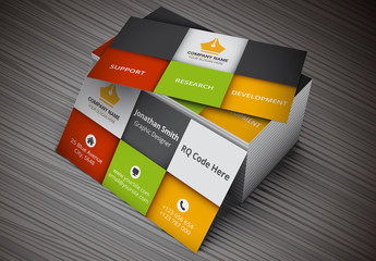 Business Card with Square Segments Layout