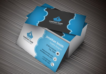Business Card with Blue Cloud Design Layout