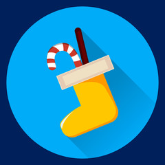 Christmas sock with candies icon with long shadow on blue background. Vector illustration. Modern flat design